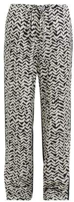 Haider Ackermann Greenfield Chevron Stripe Crepe Trousers - Womens - Black White