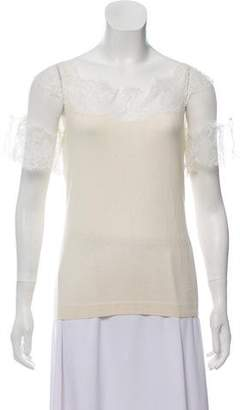 Christian Dior Lace-Trimmed Knit Top