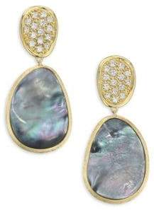 Marco Bicego Diamond Lunaria Double Drop Earrings With Black Mother-Of-Pearl
