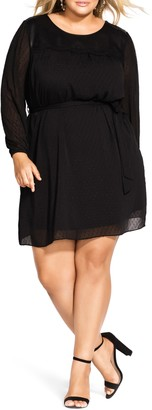 City Chic City City Dark Side Tie Waist Dress