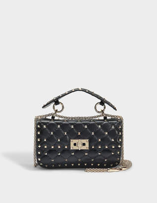 Valentino Rockstud Spike Small Shoulder Bag in Black Nappa Leather