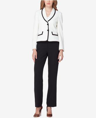 Tahari ASL Shawl-Collar Colorblocked Pantsuit $280 thestylecure.com