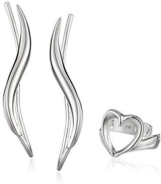 The Ear Pin Sterling Polished Earrings Paired with Heart Earcuff Earrings