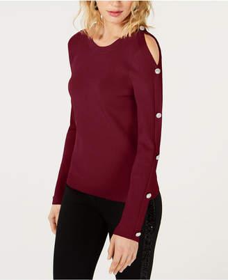 INC International Concepts I.n.c. Cold-Shoulder Button Sweater