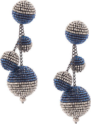 Oscar de la Renta triple beaded ball earrings