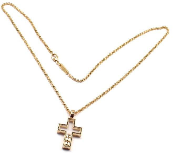 ChopardChopard 18K Yellow Gold Diamond Happy Cross Pendant Necklace