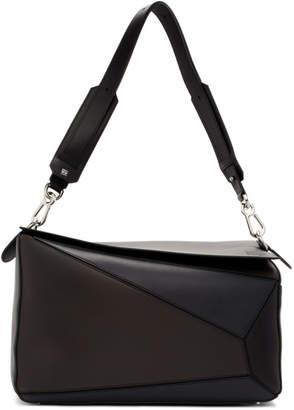 Loewe Brown and Grey XL Puzzle Bag
