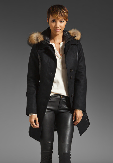 Soia & Kyo Trendy Wool Removable Fur Hood Anja Jacket