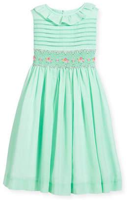 Luli & Me Smocked Ruffle-Collar Dress, Turquoise, Size 4-6X