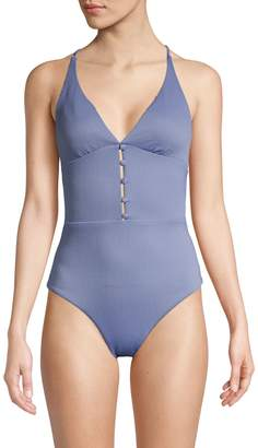 Red Carter Maillot Empire Waist One-Piece Swimsuit