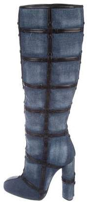 Tom Ford Patchwork Denim Knee-High Boots