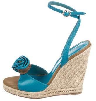 Saint Laurent Leather Embellished Wedge Sandals