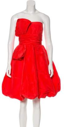 Oscar de la Renta Silk Strapless Dress Coral Silk Strapless Dress