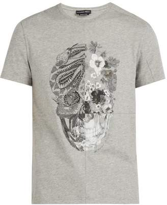 Alexander McQueen Patchwork Skull Print Cotton T Shirt - Mens - Grey
