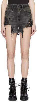 R 13 'Shredded Slouch' denim shorts