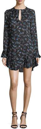 Veronica Beard Preston Long-Sleeve Floral-Print Silk Dress