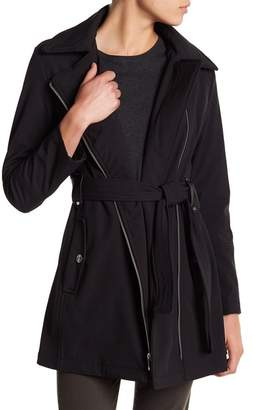 Via Spiga Hooded & Belted Rain Coat (Petite)