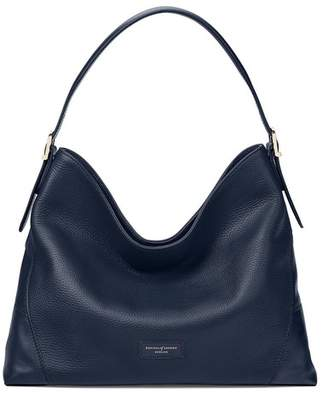 Aspinal of London Small A Hobo In Navy Pebble