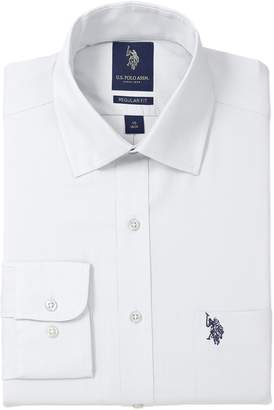 U.S. Polo Assn. Men's Solid Broadcloth Semi Spread Collar Dress Shirt