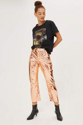 Topshop Moto copper metallic cropped kick flare jeans
