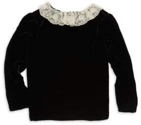 Bonpoint Little Girl's Lace Collar Velvet Blouse
