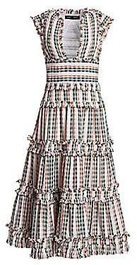 Proenza Schouler Women's Woven Stripe Cap Sleeve Midi Dress