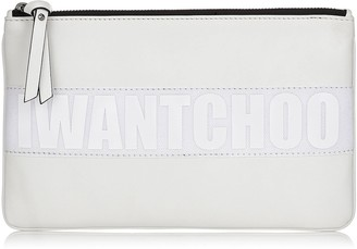 Jimmy Choo NINA/L White Satin Leather Zipped Pouch