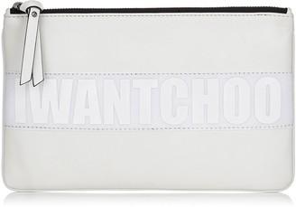 Jimmy Choo NINA/L White Satin Leather Zipped Pouch