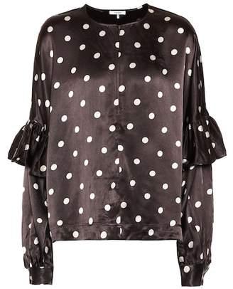 Ganni Polka-dot satin blouse