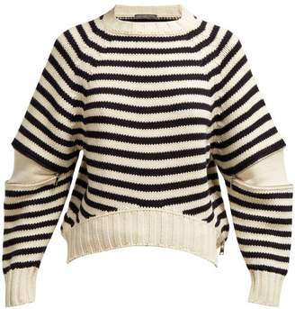 Alexander McQueen Zip Sleeve Wool Sweater - Womens - Navy Multi