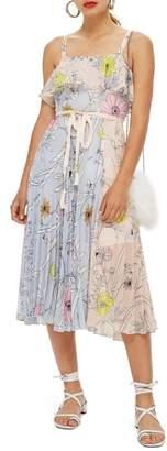 Topshop Pastel Pleated Midi Dress