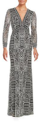 Tadashi Shoji Long Sleeve Column Gown $599 thestylecure.com
