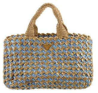 Prada Raffia Crochet Tote