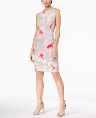 Calvin Klein Floral-Print Scuba Sheath Dress, Regular & Petite Sizes