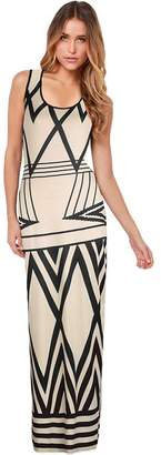 Ruiyige Women Crewneck Sleeveless Chevron Striped Zig Zag Beach Dress Casual Maxi Dress