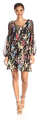 Betsey Johnson Women's New Boho Floral Dress with Lace Inset Sleeves $148 thestylecure.com
