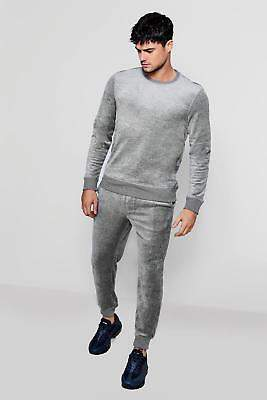 boohoo NEW Mens Velour Skinny Tracksuit in Cotton 20% Polyester