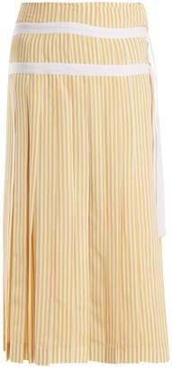Joseph Clyde pleated striped silk wrap skirt