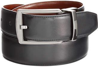 Perry Ellis Portfolio Men's Leather Big & Tall Reversible Feather Stitch-Edge Belt