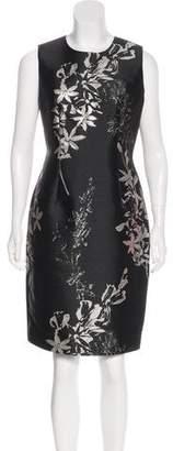 Carmen Marc Valvo Brocade Knee-Length Dress