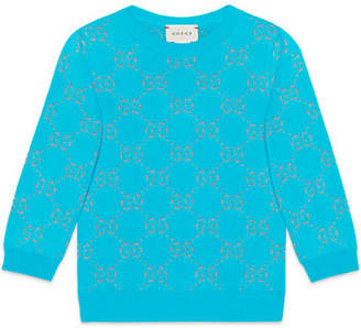 Gucci Girls' GG Printed 3/4-Sleeve Crewneck Sweater, Size 4-12