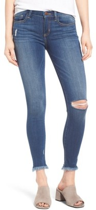 Women's Sp Black Frayed Hem Skinny Jeans $58 thestylecure.com