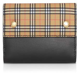 Burberry Small Scale Check Leather Folding Wallet