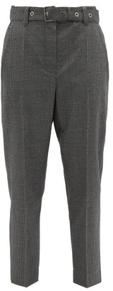Brunello Cucinelli Belted Houndstooth Wool Trousers - Womens - Black White
