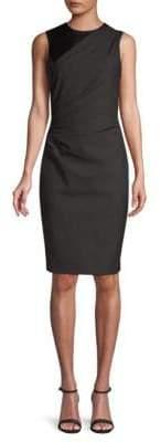 Elie Tahari Raphaella Dotted Plain Weave Suiting Dress