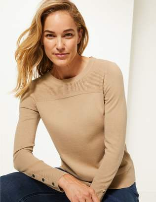 Marks and Spencer Ripple Textured Yoke Round Neck Jumper