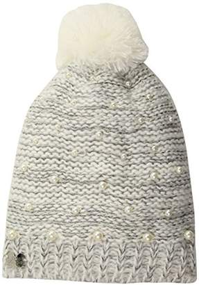 Betsey Johnson Womens Cascading Pearls Beanie