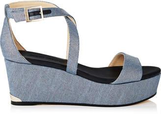 Jimmy Choo PORTIA 70 Dusk Blue Metallic Denim Fabric Wedge Sandals with Covered Wedge