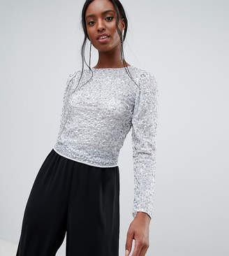 Asos Tall DESIGN Tall long sleeve top with sequin embellishment