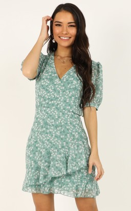 Showpo Chill Zone Dress in sage floral - 6 (XS) Casual Dresses